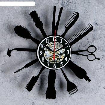 Часы настенные, серия: интерьер, парикмахерская, акриловые, 30х30 см, плав