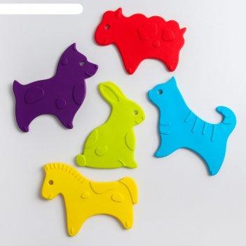 Антискользящие мини-коврики roxy-kids для ванны. серия animals. цвета в ас