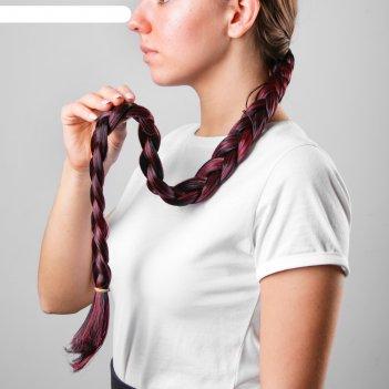Коса на резинке баклажан, длинна 75 см