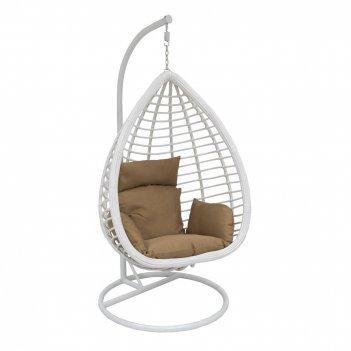 Подвесное кресло leset eagle white ми, каркас белый, подушка коричневая