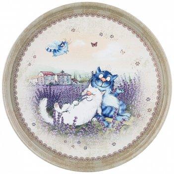 Поднос сервировочный agness синие коты 33*2,1 см