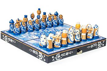 Шахматы подарочные матрешки гжель 30х30см ручная роспись