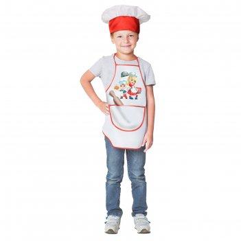 Карнавальный костюмвеселые поварятафартук,колпак,скалка,р28-30,рост 98-116