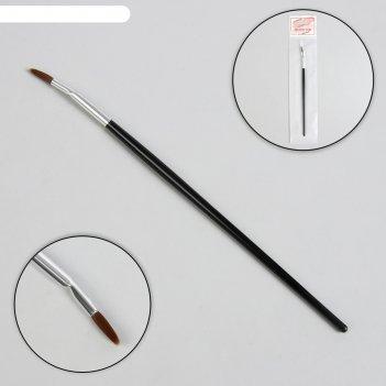Кисть для дизайна пластик загнутая точечная 18,5см 12*4мм чёрн/серебр паке