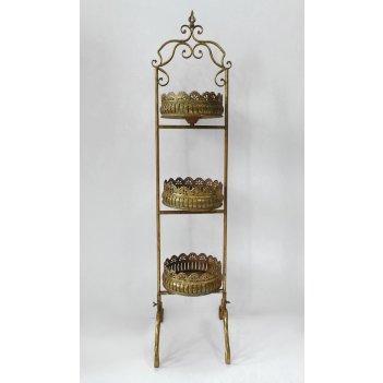 Этажерка 3-х ярусная для цветов  декоративная,  золотая патина