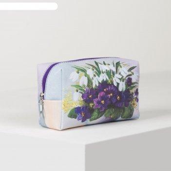 Косметичка дорож букет, 18*7*10, отдел на молнии, фиолетовый