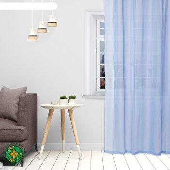 Тюль «этель» 135x150 см, цвет небесно-голубой, вуаль, 100% п/э