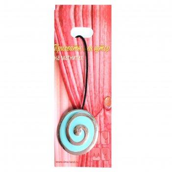 Подхват для штор на шнуре, овал спираль 6х5,5см, цвет серебристо-голубой