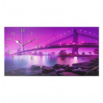 Часы настенные на холсте светящийся мост, 40х76 см