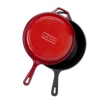 Чугунная сковорода lava red с крышкой combo 2,90 л, 26 см