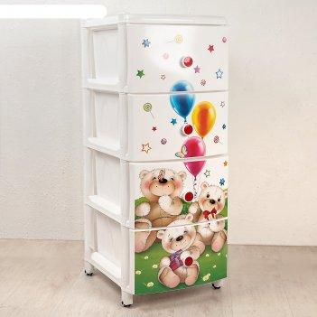Комод для игрушек медвежата на колесиках, 4 выдвижных ящика
