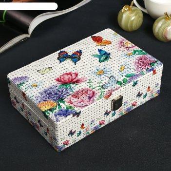 Шкатулка кожзам для украшений бабочки и цветы с блёстками 7х14х21,5 см