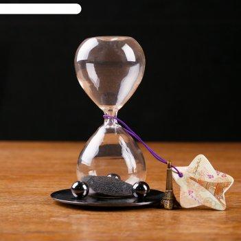 Часы песочные на подставке с магнитом, песок с добавлением мет, сыпется ел