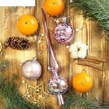 Ёлочные украшения вензеля и звёзды (набор 19 шт.), розовые