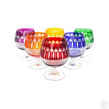 Набор бокалов для бренди цветной хрусталь 250мл(6 шт)