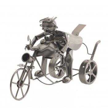 Подставка для бутылки мотоциклист, l41 w14,5 h23 см