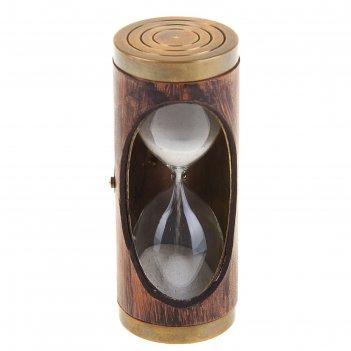 Сувенир песочные часы в коже (3 мин) 9,8х4х4 см