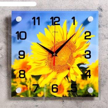 Часы настенные, серия: цветы, подсолнух, 25х25  см, микс