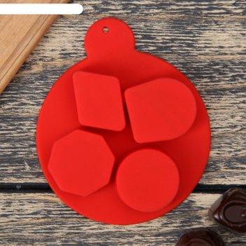 Форма для льда и шоколада 8,5x1,6 см «дольки шоколада», 4 ячейки (d=3 см),