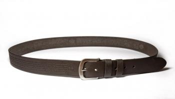 00612 пояс ремень мужской кожаный, однослойный, гладкий, прошитый. ширина