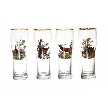 Набор бокалов стаканов из 4 шт.охота 300 мл.