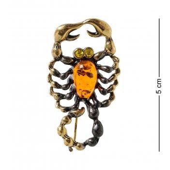 Am-1966 фигурка-брошь скорпион (латунь, янтарь)