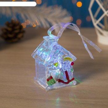 Игрушка световая домик деда мороза (батарейки в комплекте) 1 led, rgb