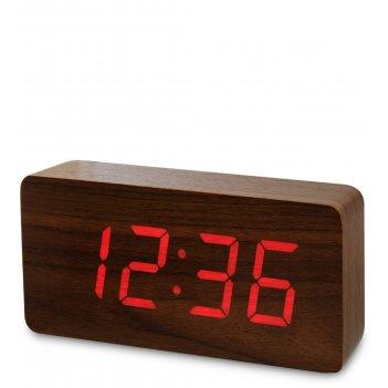 Ял-07-03/ 3 часы электронные бол. (коричневое дерево с красной подсветкой)