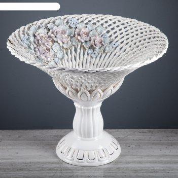 Фруктовница плетенка лилия , белая лепка