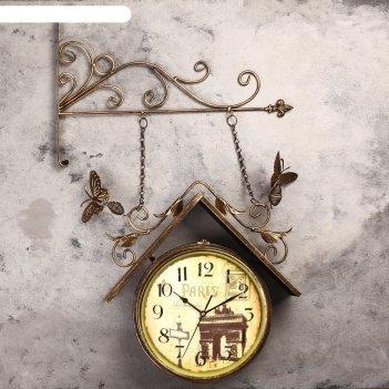 Часы настенные двойные, серия: садовые, скворечник, 42х77 см
