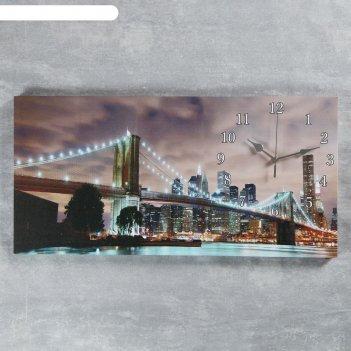 Часы настенные, серия: город, на холсте бруклинский мост, 40х76  см, микс