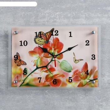 Часы настенные прямоугольные орхидеи и бабочки, 25х35 см