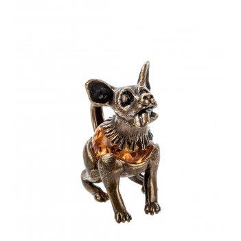 Am-506 фигурка пес-барбос (латунь, янтарь)