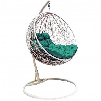 Подвесное кресло кокон «круглое» зелёная подушка, стойка