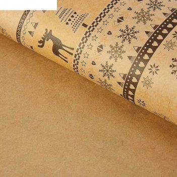 Бумага упаковочная  крафт скандинавский узор, бело-коричневая, 50 х 70 см,