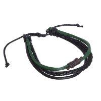 Браслет мужской сила плетение, цвет чёрно-зелёный