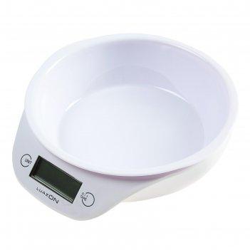 Весы-чашка кухонные luazon lvkb -501 до 5 кг, шаг 1 г, чаша 1300 мл, пласт