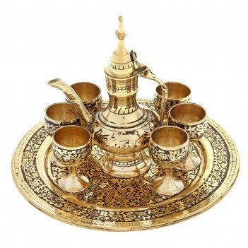 Набор посуды шахерезада: 6 чашек, чайничек, поднос