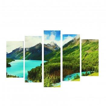 Модульная картина на подрамнике озеро, 2 — 25x52 см, 2 — 25x66,5 см, 1 — 2
