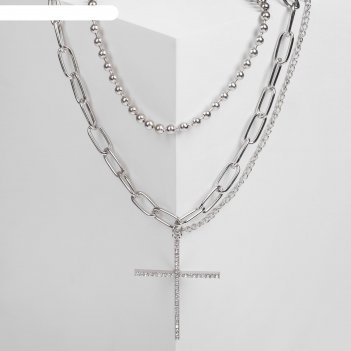 Кулон цепь бусина из жемчуга с крестом, цвет белый в серебре, 45см