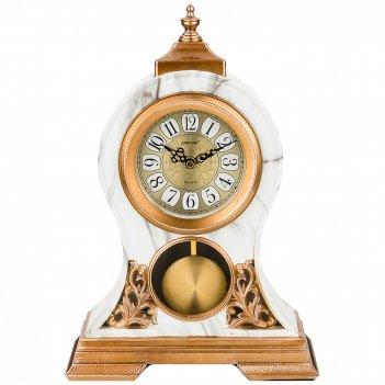 Часы настольные кварцевые с маятником цвет: белые с золотом 26*10*37 см (к