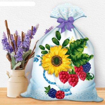 Вышивка лентами на мешочке лений букет с ягодой, 35 х 25 см