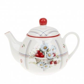 Чайник заварочный лукошко v=1000мл. (фарфор) (подарочная упаковка)