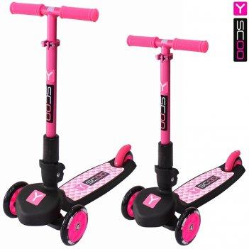Самокат трехколесный y-scoo trio maxi 120 pink