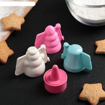 Набор форм для печенья с начинкой 3 шт новогодний и форма для выдавливания