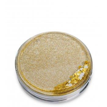 Ww-113 зеркало круглое золотистое с плавающими сердечками блеск