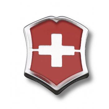 Значок victorinox в форме креста на щите, металлический, красно-серебристы
