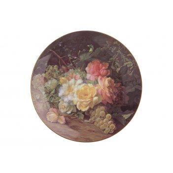 Тарелка настенная декоративная цветы диаметр=20,...