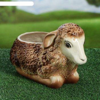 Кашпо овечка коричневая 4л