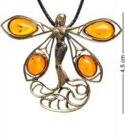 Am-1715 подвеска стрекоза фея (латунь, янтарь)